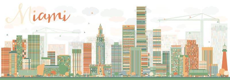 Horizon abstrait de Miami avec des bâtiments de couleur illustration libre de droits