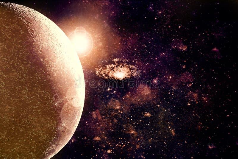 Horizon abstrait de planète sur le fond de galaxie de nébuleuse d'espace lointain illustration de vecteur