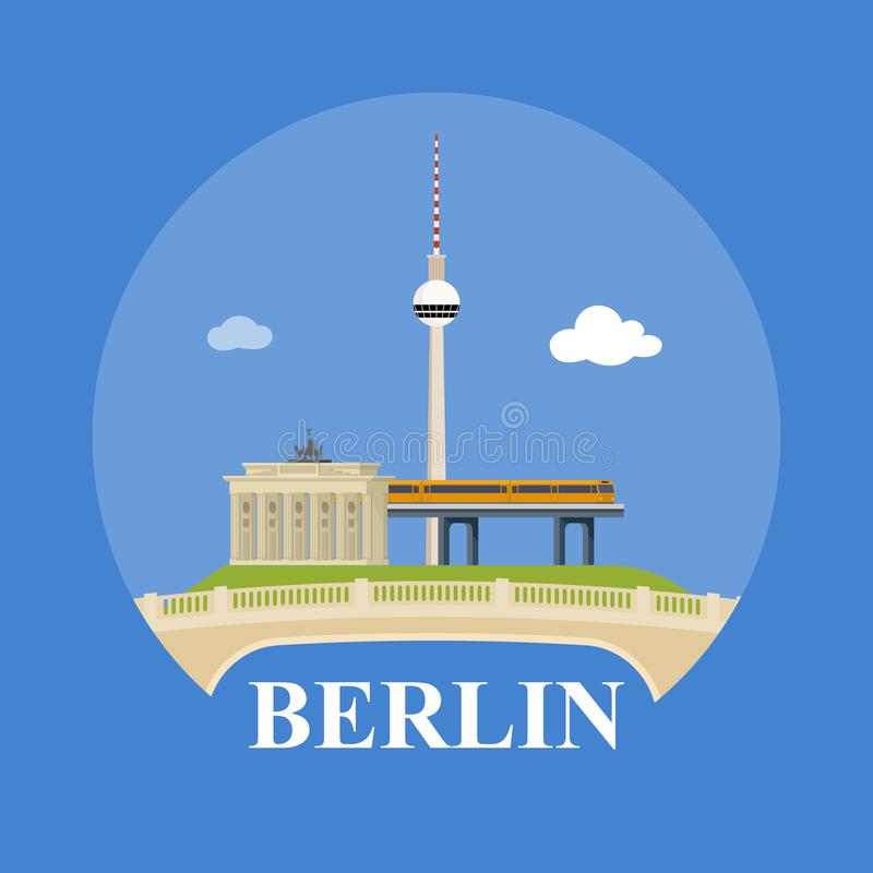 Horizon abstrait de ville Berlin illustration stock