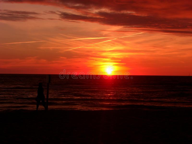 Horizon, Afterglow, Red Sky At Morning, Sunset royalty free stock images