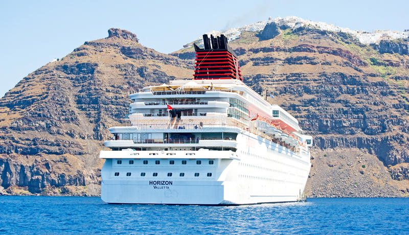 Download Horizon Anchored By Santorini, Greece. Editorial Stock Image - Image: 20567089