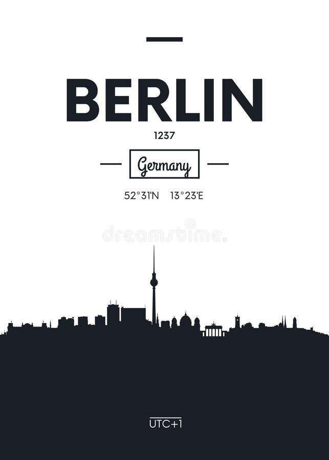 Horizon Berlin, illustration plate de ville d'affiche de vecteur de style illustration de vecteur