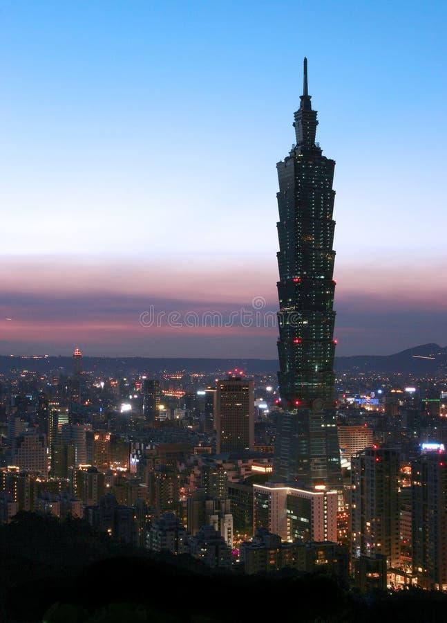 Horizon bij nacht in Taipeh royalty-vrije stock afbeeldingen