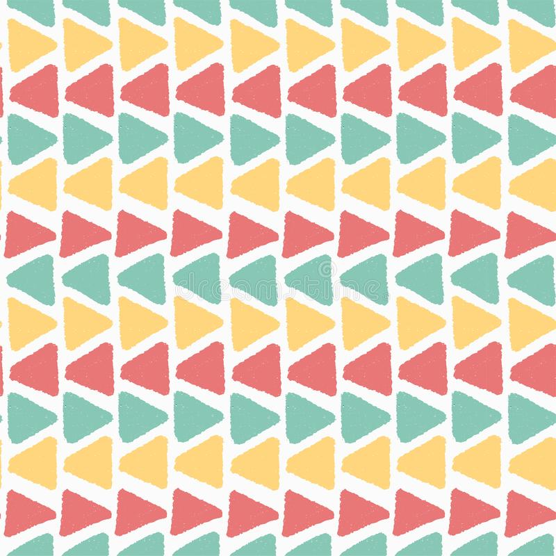 Horizon colourful summer vintage grunge geometric triangle pattern seamless background royalty free illustration