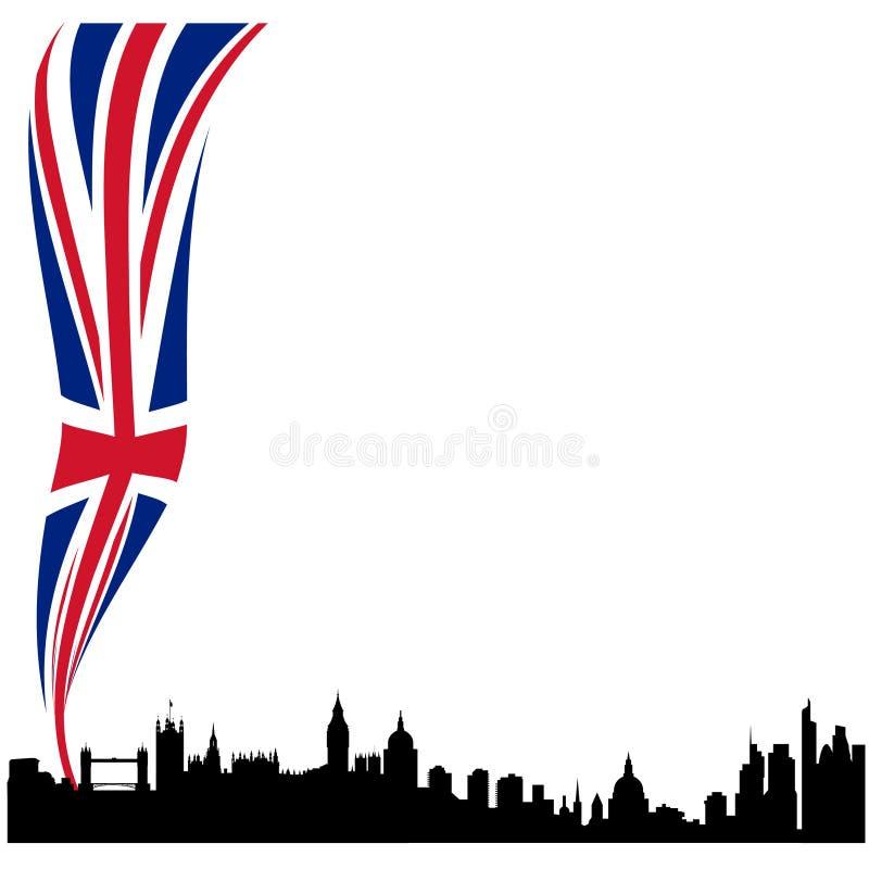 Horizon détaillé de silhouette de Londres avec l'indicateur illustration libre de droits
