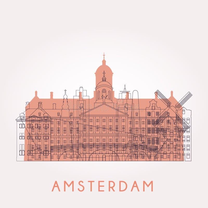 Horizon d'Amsterdam d'ensemble illustration libre de droits