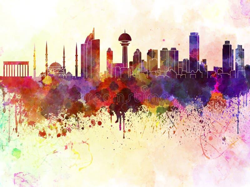 Horizon d'Ankara à l'arrière-plan d'aquarelle illustration de vecteur
