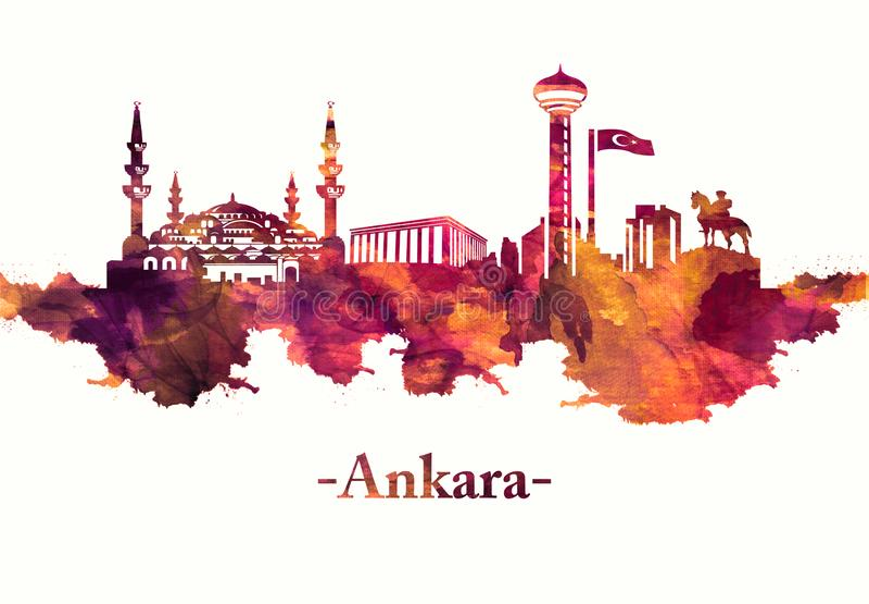 Horizon d'Ankara Turquie en rouge illustration de vecteur