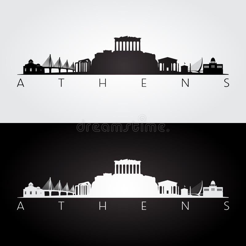 Horizon d'Athènes et silhouette de points de repère illustration de vecteur