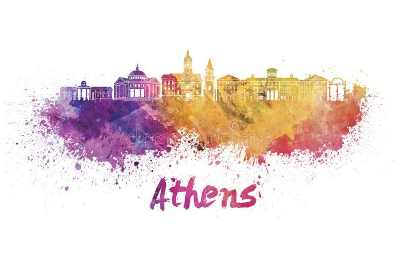 Horizon d'Athènes GA dans l'aquarelle illustration libre de droits