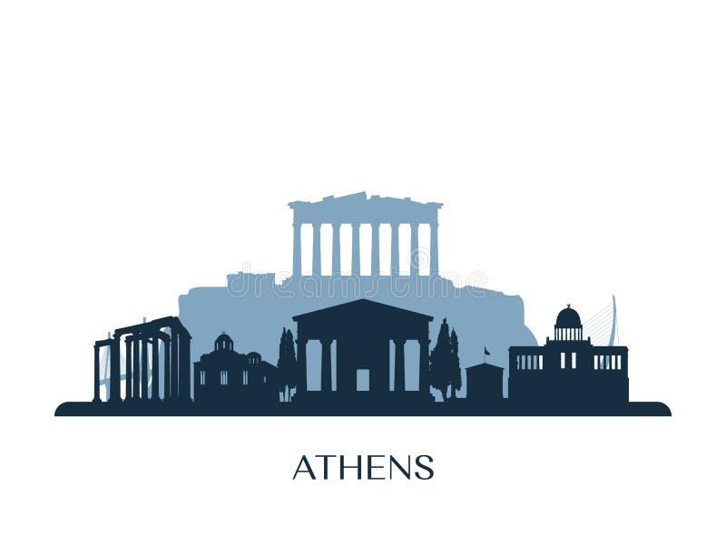 Horizon d'Athènes, silhouette monochrome illustration stock