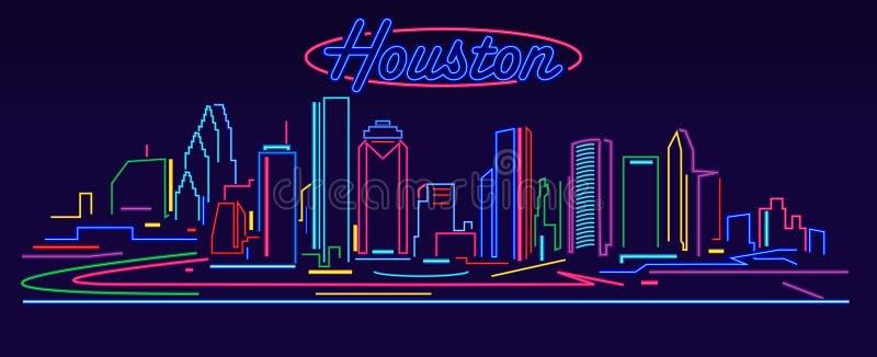 Horizon d'enseigne au néon de Houston Texas illustration de vecteur