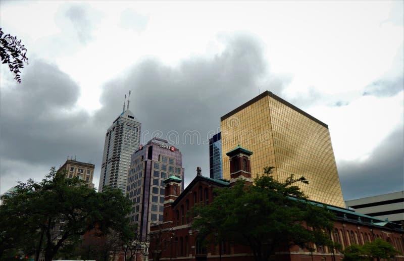 Horizon d'Indianapolis de place du marché images libres de droits