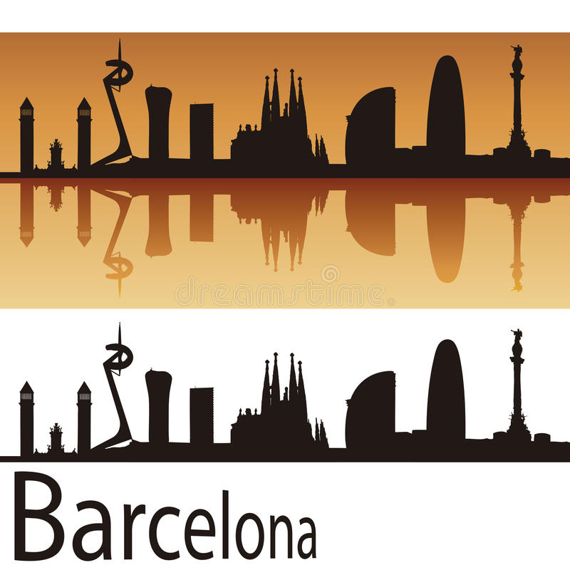 Horizon de Barcelone à l'arrière-plan orange illustration libre de droits