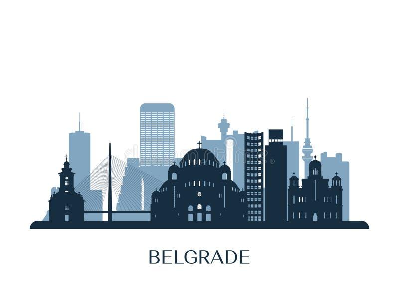 Horizon de Belgrade, silhouette monochrome illustration de vecteur