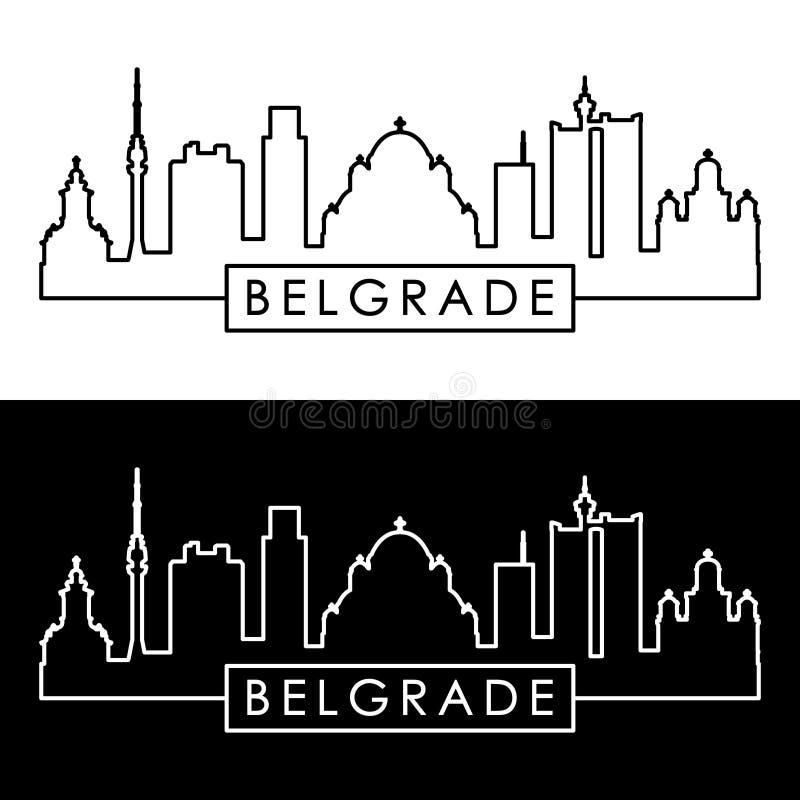 Horizon de Belgrade style linéaire Dossier Editable de vecteur illustration libre de droits