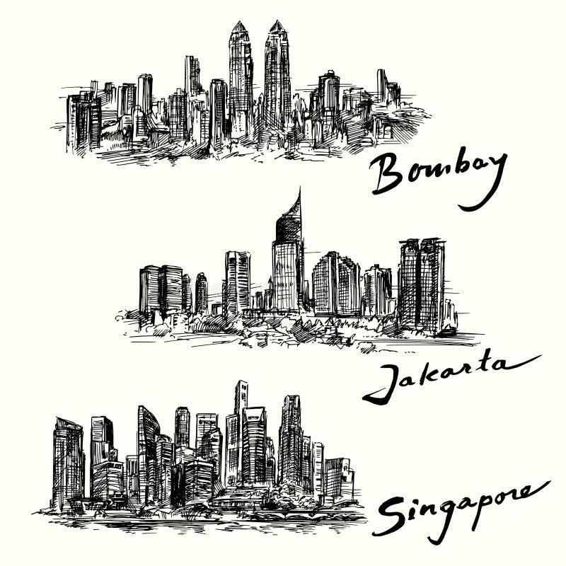 Horizon de Bombay, Jakarta, Singapour illustration libre de droits