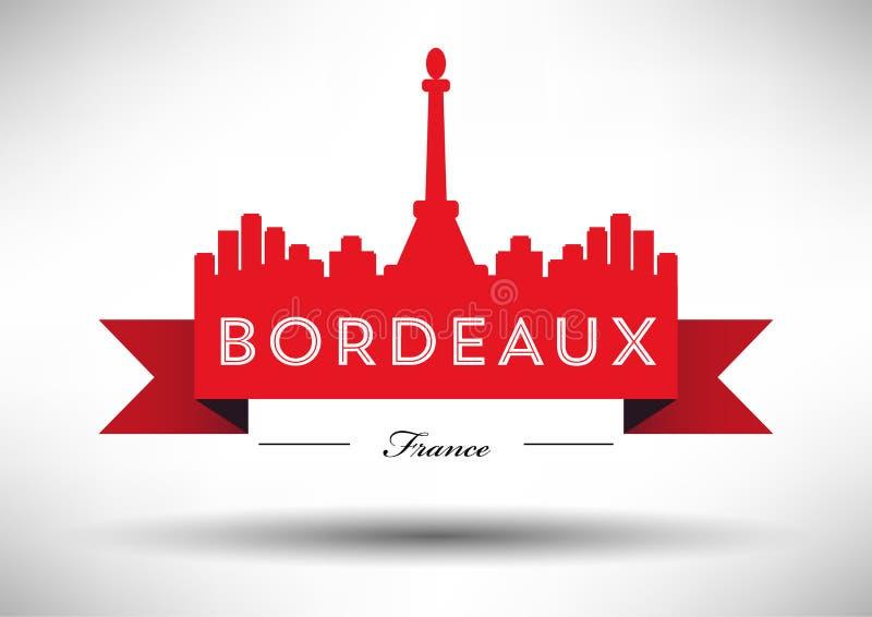 Horizon de Bordeaux avec la conception typographique illustration stock