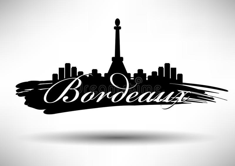 Horizon de Bordeaux avec la conception typographique illustration de vecteur