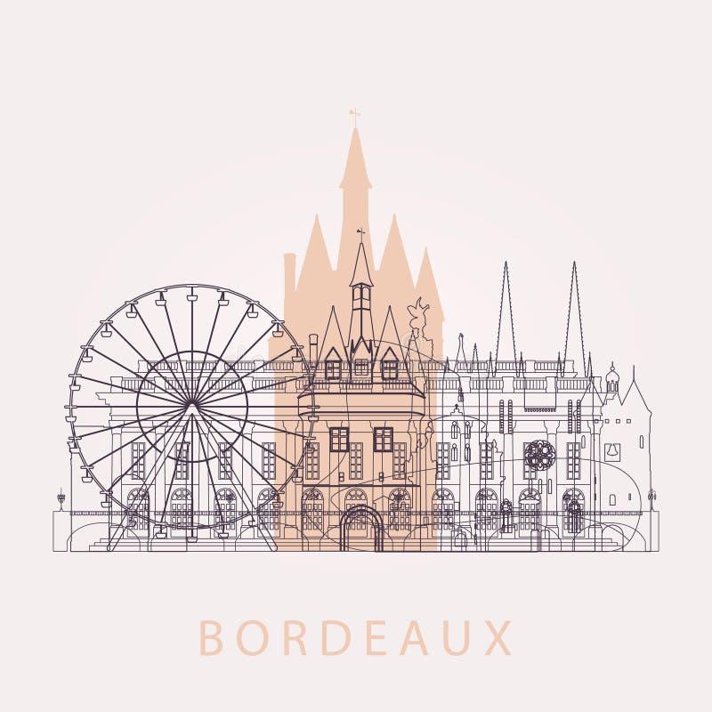 Horizon de Bordeaux d'ensemble avec des points de repère illustration libre de droits