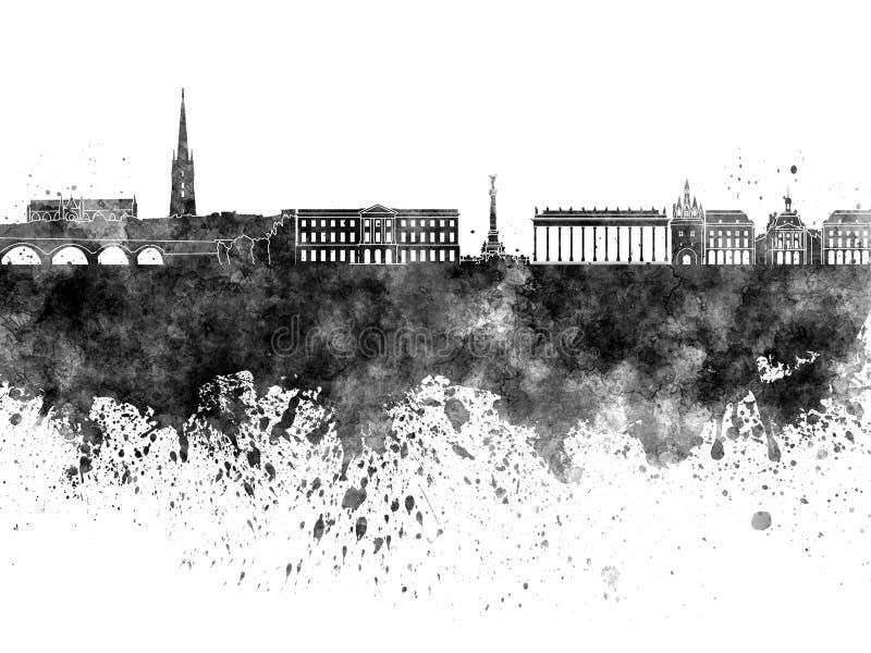 Horizon de Bordeaux dans l'aquarelle noire illustration libre de droits