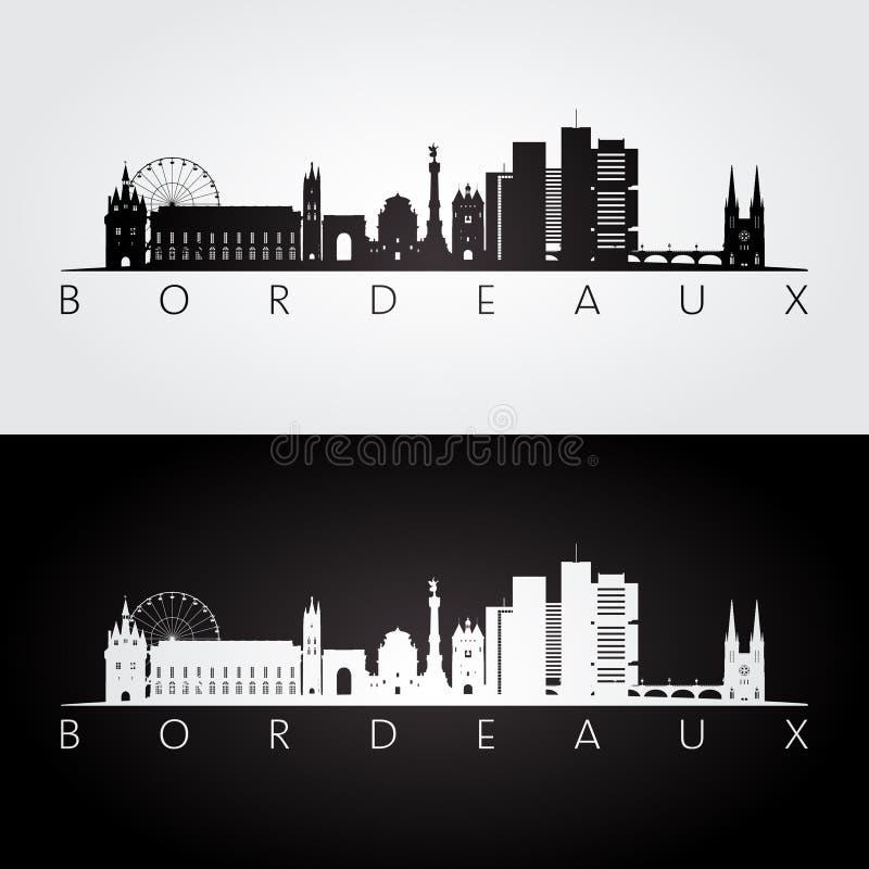 Horizon de Bordeaux et silhouette de points de repère illustration libre de droits