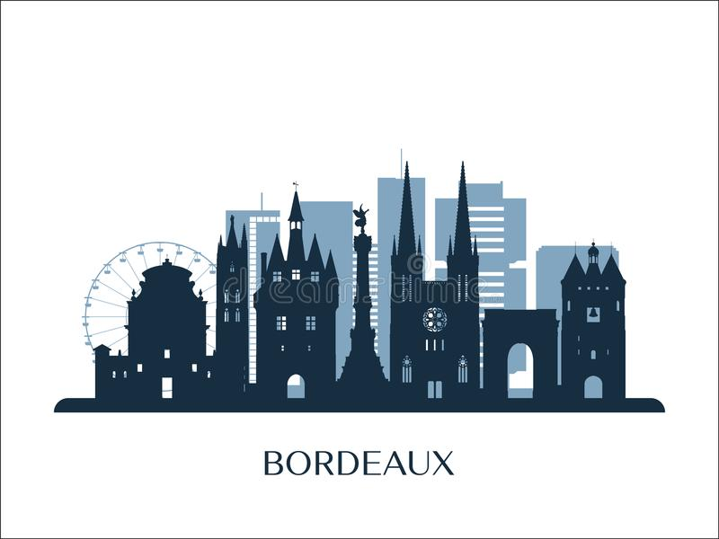 Horizon de Bordeaux, silhouette monochrome illustration libre de droits