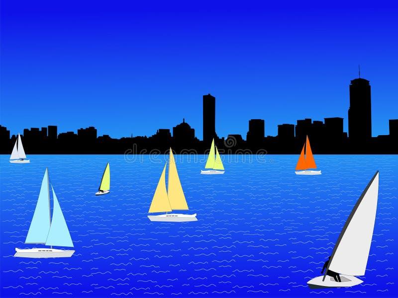Horizon de Boston avec des yachts illustration stock