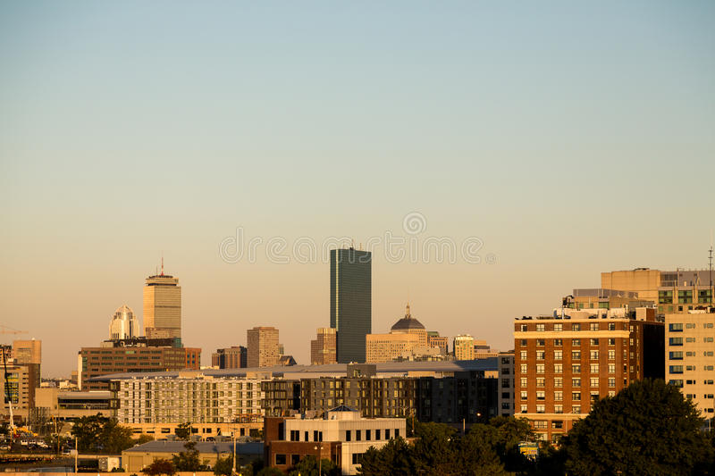 Horizon de Boston dans la lumière de matin photo libre de droits
