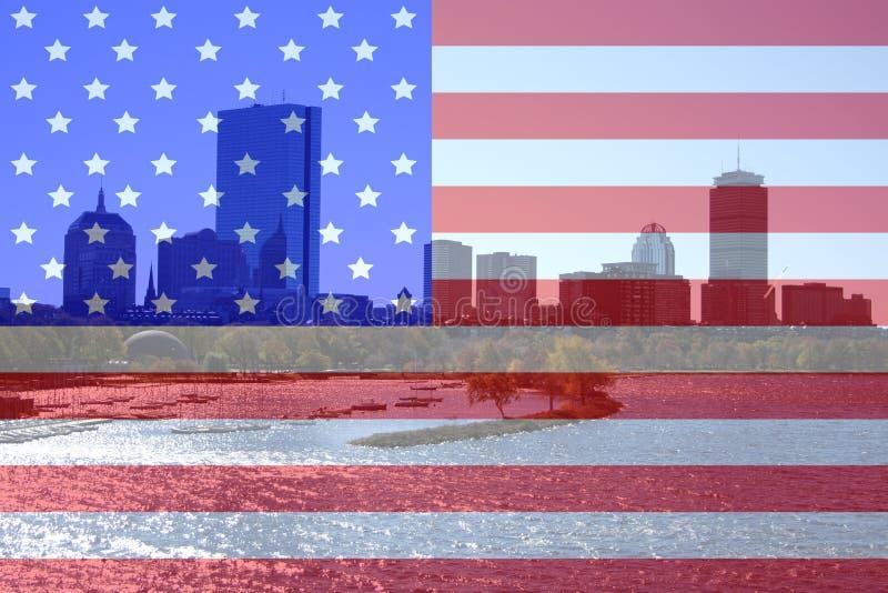 Horizon de Boston et fleuve de Charles photographie stock libre de droits