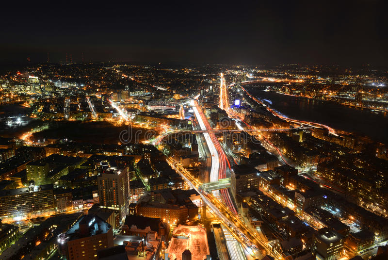 Horizon de Boston la nuit, le Massachusetts, Etats-Unis image stock