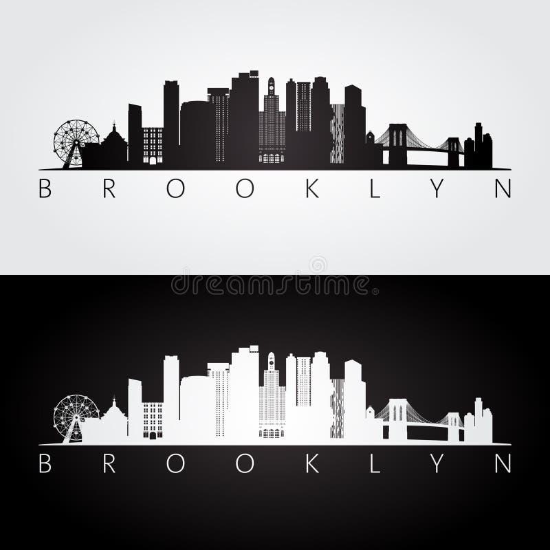 Horizon de Brooklyn, de New York City, Etats-Unis et silhouette de points de repère illustration stock