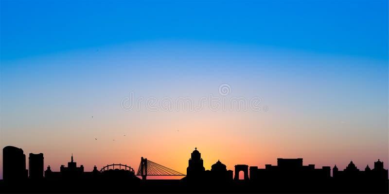 Horizon de Bucarest au coucher du soleil images stock