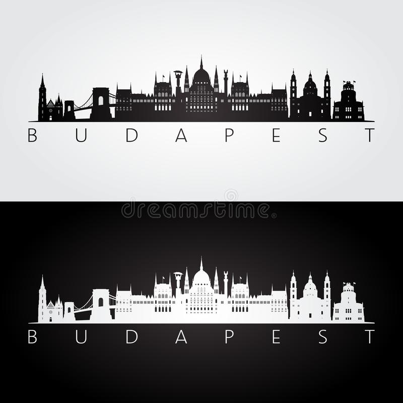 Horizon de Budapest et silhouette de points de repère illustration de vecteur