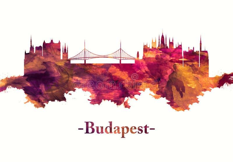 Horizon de Budapest Hongrie en rouge illustration stock