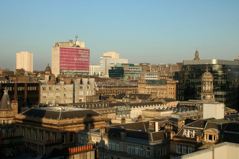 Horizon de centre de la ville de Glasgow du phare images libres de droits