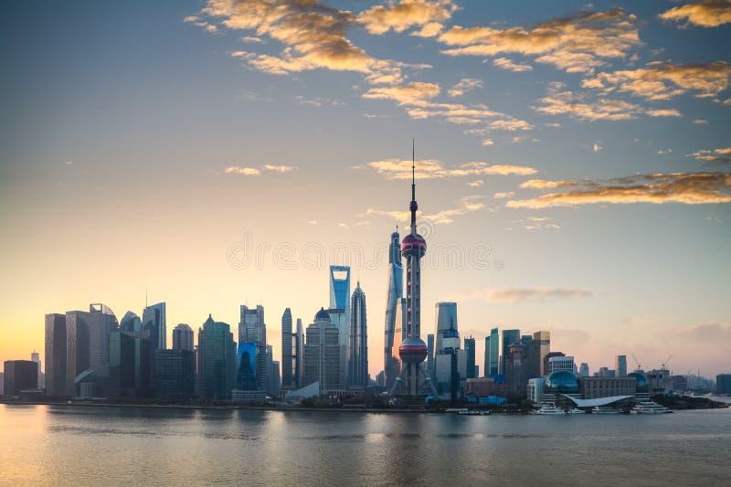 Horizon de Changhaï dans un beau matin photo libre de droits