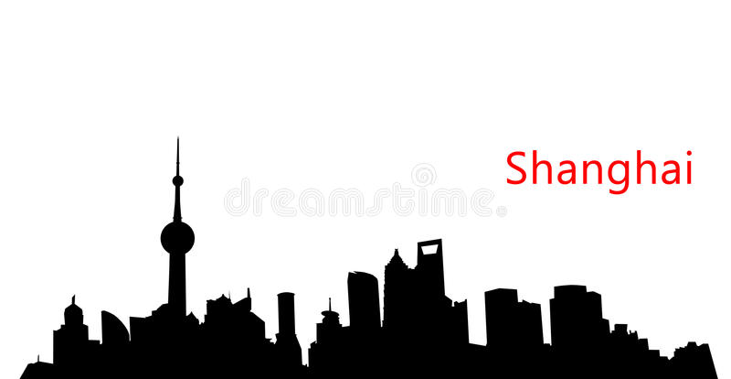 Horizon de Changhaï de silhouette photo libre de droits