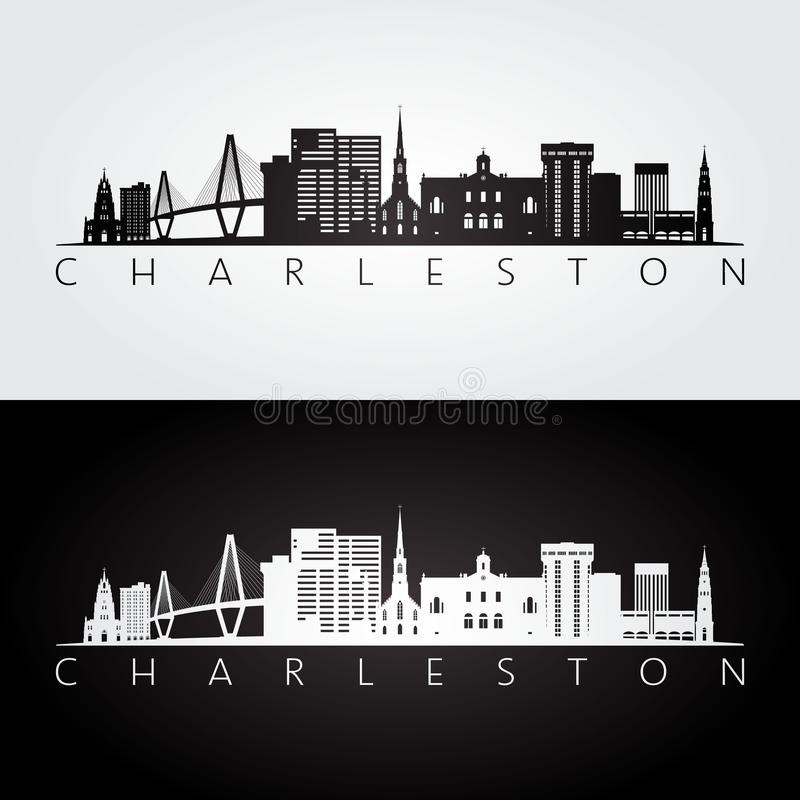Horizon de Charleston Etats-Unis et silhouette de points de repère illustration libre de droits
