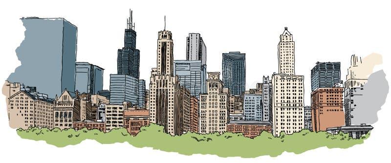 Horizon de Chicago illustration stock