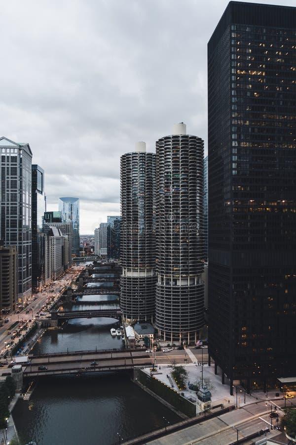 Horizon de Chicago au coeur du centre ville images libres de droits