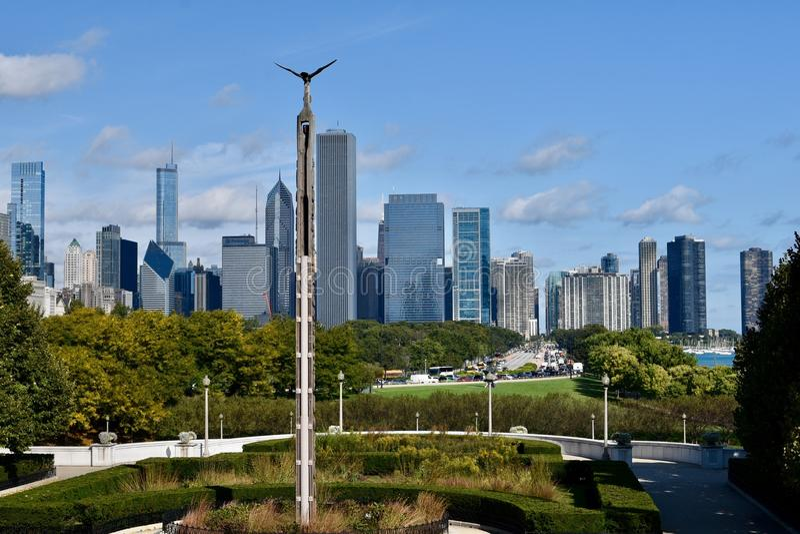 Horizon de Chicago de chute photographie stock libre de droits