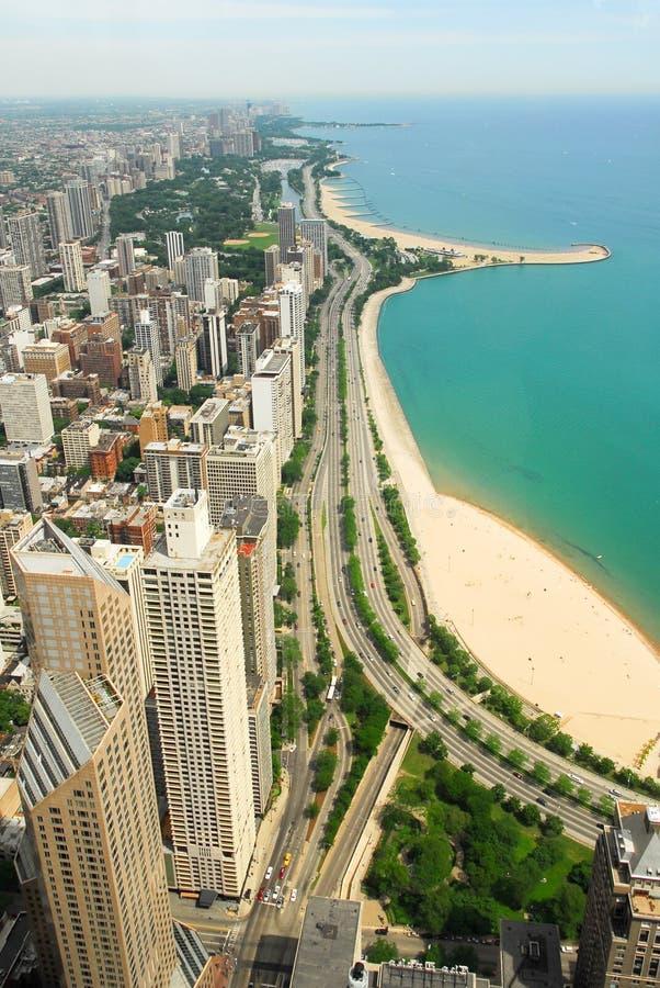 Horizon de Chicago et vue de la Gold Coast photographie stock libre de droits