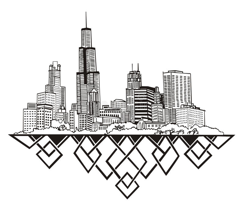 Horizon de Chicago, IL illustration stock