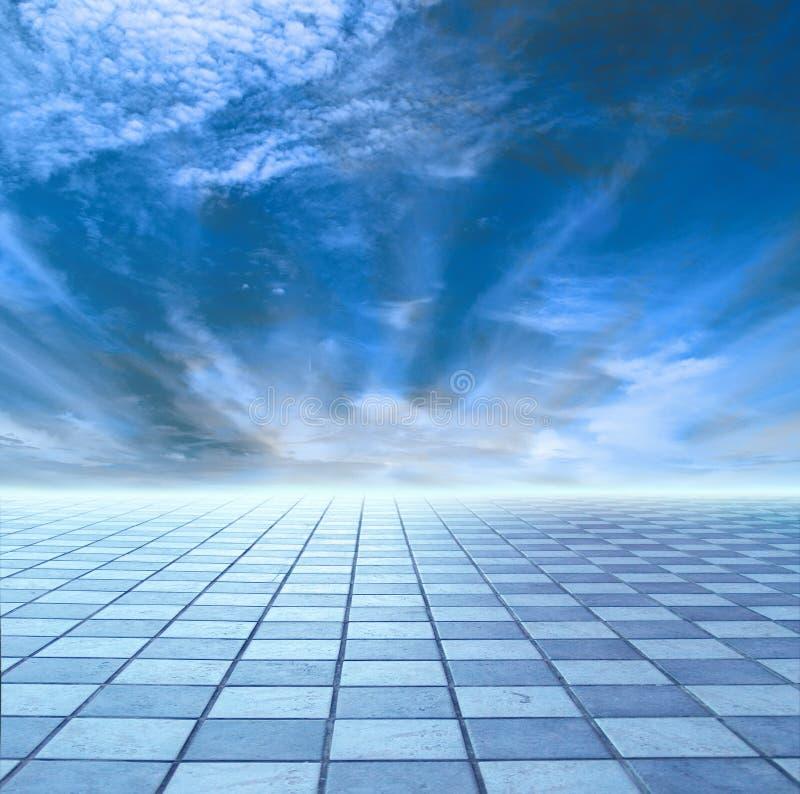 Horizon de ciel bleu et de tuile bleue illustration libre de droits