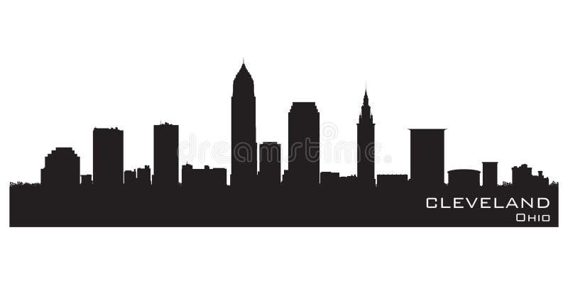 horizon de Cleveland Ohio Silhouette détaillée de vecteur illustration libre de droits