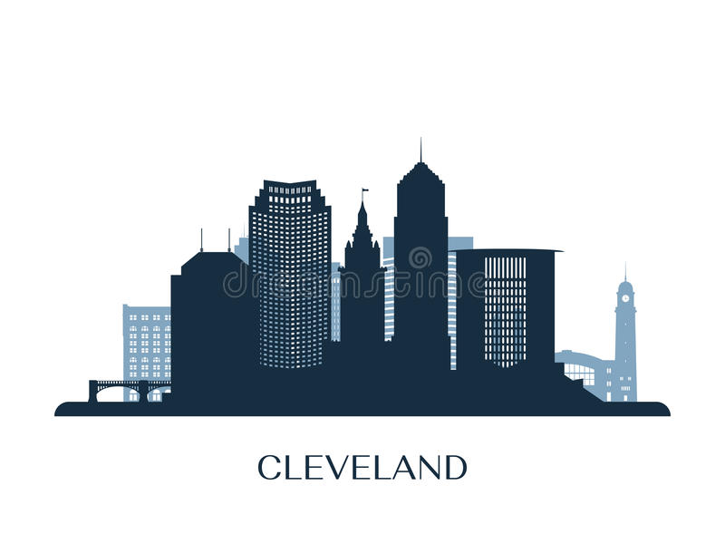 Horizon de Cleveland, silhouette monochrome illustration de vecteur