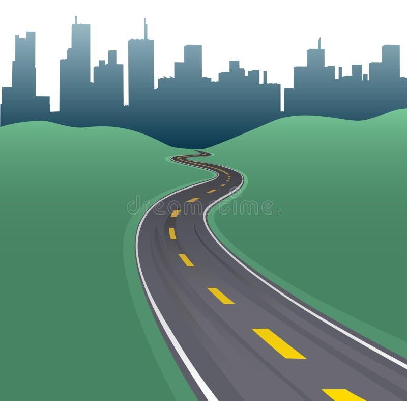 Horizon de constructions de ville de courbe de chemin d'omnibus illustration libre de droits
