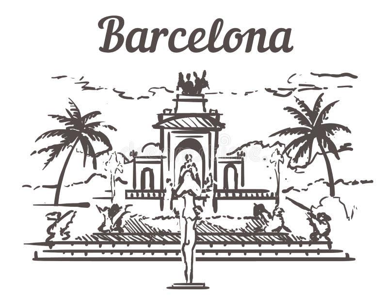 Horizon de croquis de Barcelone Illustration tirée par la main de Barcelone, Espagne D'isolement sur le fond blanc illustration de vecteur