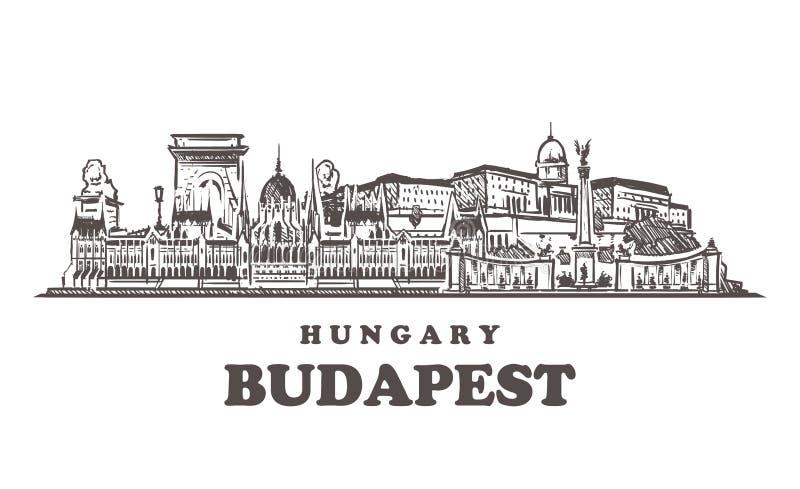 Horizon de croquis de Budapest Illustration tirée par la main de vecteur de Budapest, Hongrie illustration libre de droits